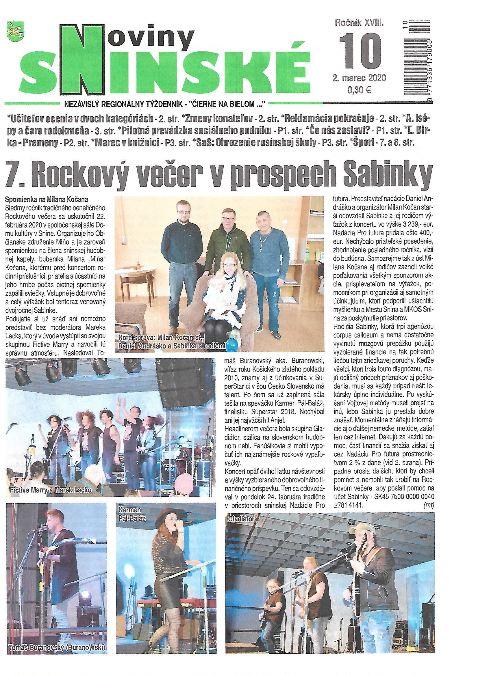 7. rockový večer v prospech Sabinky