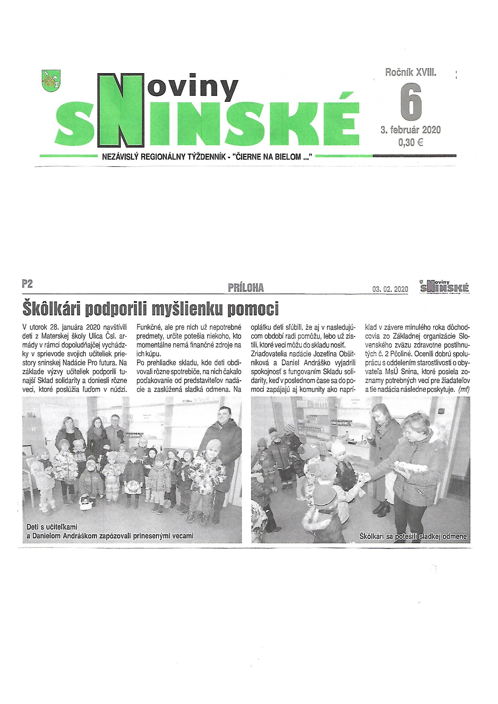 Škôlkari podporili Sklad solidarity